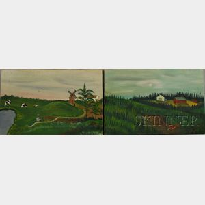 Two 20th Century American School Oil on Canvas Primitive Landscapes