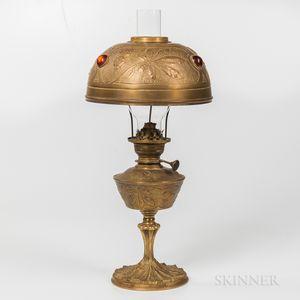 Georges Leleu-style Art Nouveau Oil Lamp