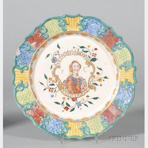 Staffordshire White Saltglazed Stoneware Commemorative Plate