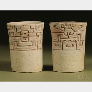 Pair of Pre-Columbian Carved Pottery Cylinders