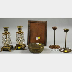 Six Assorted Decorative Metal Table Items