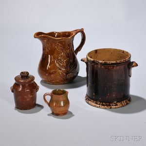 Two Bennington Pottery and Two Redware Items