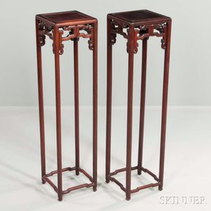 Pair of Tall Hardwood Stands