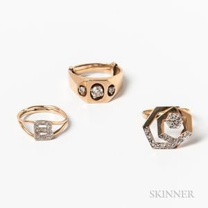 Three 14kt Gold and Diamond Rings