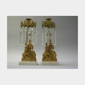 Pair of Gilt Bronze and Marble Figural Girandoles.