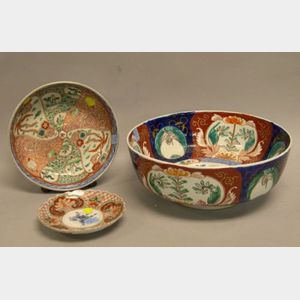 Imari Porcelain Plate and Two Bowls.