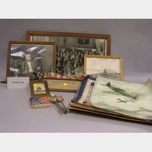 Group of WWII U.S. and Japanese Collectibles and Items.