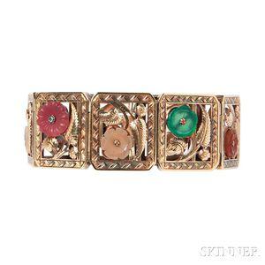 Art Deco 14kt Gold and Hardstone Bracelet