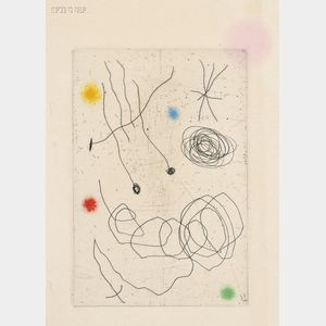 Joan Miró (Spanish, 1893-1983)      La Chouette et l'escargot  /The Face of a Greeting Card from Aimé Maeght