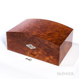 "Cartier Humidor in Burl Vavona Figured Wood and ""Platinum"" Finish"