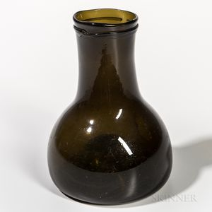 Olive Green Blown Glass Wide-mouth Bottle