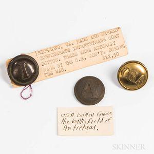 Three Confederate Coat/Jacket Buttons