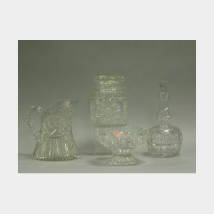 Colorless Cut Glass Jar, Bowl, Pitcher and Decanter.