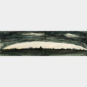 Charles Ephraim Burchfield (American, 1893-1967)      Night Landscape
