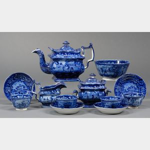 Twelve Historic Blue Staffordshire Pottery Teaware Items