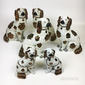 Three Pairs of Staffordshire Lustre-decorated Spaniels