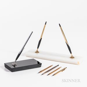 Seven Cross Pens and Pencils and Two Desk Stands.