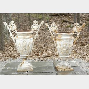 Pair of White Painted Aesthetic Style Cast Iron Urns