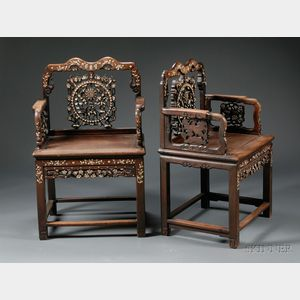 Pair of Mother-of-pearl-inlaid Chairs