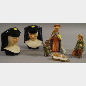 Six Hummel and Goebel Ceramic Figures and Figural Groups