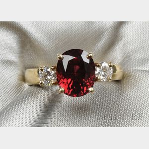 18kt Gold, Red Spinel, and Diamond Ring