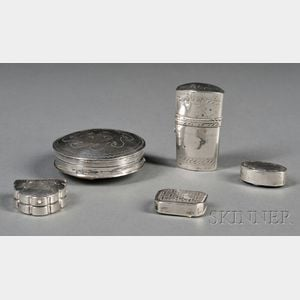 Five Silver Snuff and Pillboxes