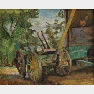 Jack N. Kramer (American, 1923-1983)      Farmyard.