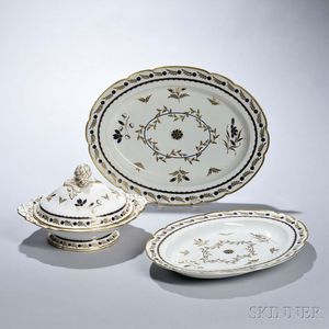Three First Period Worcester Porcelain Serving Pieces