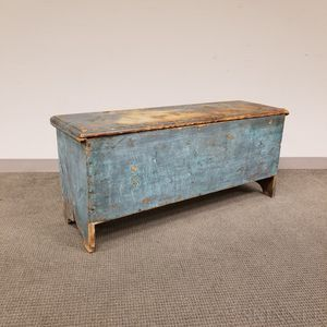 Early Blue-painted Pine Six-board Blanket Chest