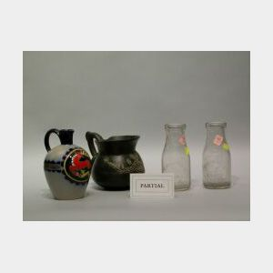 Lowenbreau Lion, Mettlach Stein, Counter Scale, Two Glass Milk Bottles, and a Pottery Jug.