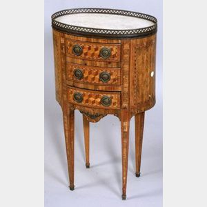 Louis XVI Style Tulipwood Parquetry Inlaid Oval Marble Top Side Table
