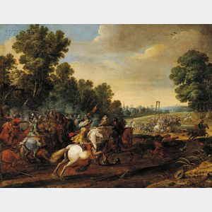 Attributed to Pieter Meulener (Flemish, 1602-1654)      Equestrian Battle