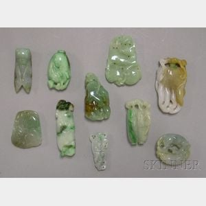 Ten Carved Jade Pendants and Other Items