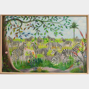 Fernand Pierre (Haitian, 1919-2002)      Zebras.