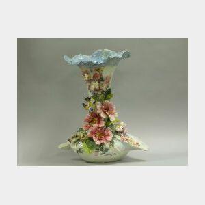 European High Relief Floral and Bird Decorated Ceramic Floor Vase.