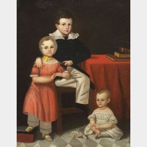 American School/Albany, New York Area, 19th Century  Portrait of Three Children