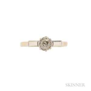 Antique 18kt Gold, Platinum, and Diamond Ring