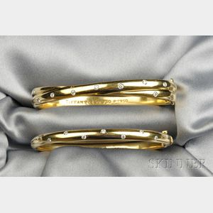 "Two 18kt Gold, Platinum, and Diamond ""Etoile"" Bracelets, Tiffany & Co."