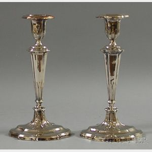 Pair of Silver-plated Candlesticks