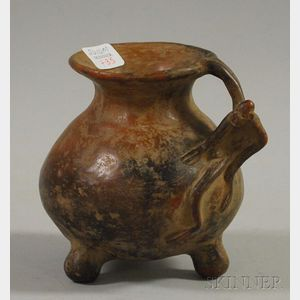 Ethnographic Pottery Footed Vessel with Monkey-form Handle