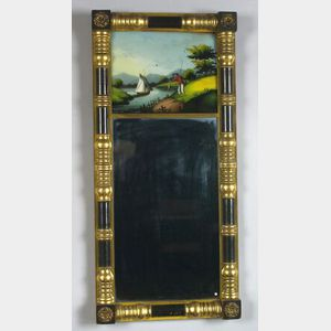 Classical Painted and Gilt Split Mirror