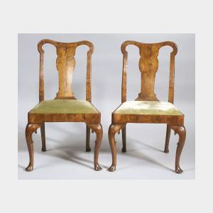 Pair Queen Anne Burl Walnut Side Chairs