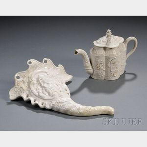 Two Staffordshire White Salt-glazed Stoneware Items