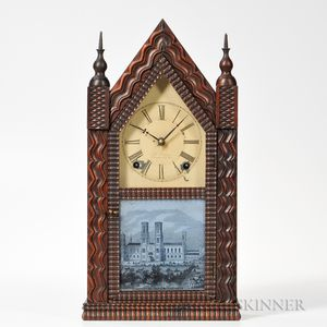 J.C. Brown Mahogany Ripple-front Steeple Clock