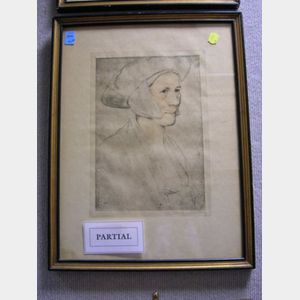 Two Aquatints of Old Master Portraits and a Woodblock by Chesterson