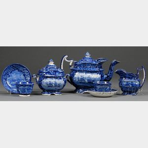 Seven Historic Blue Staffordshire Pottery Teaware Items