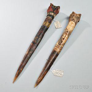 Two New Guinea Carved Bone Daggers