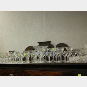 Large Group of Assorted Colorless Cut and Pressed Glass Stemware and Punch Set.