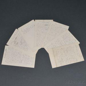 Eilshemius, Louis Michel (1864-1941) Autograph Notes Regarding Skeletal Anatomy.