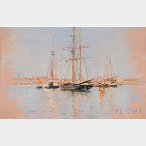 Maurice Bompard (French, 1857-1936)      Sailing Vessels Moored Off Shore, Probably Venice